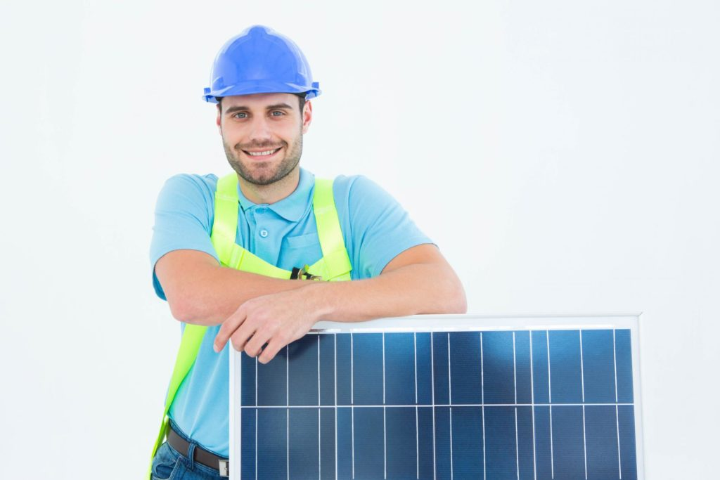 solar panel specialist during work