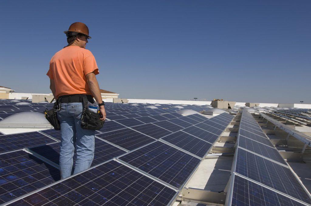 professional solar panels expert inspect solar panels